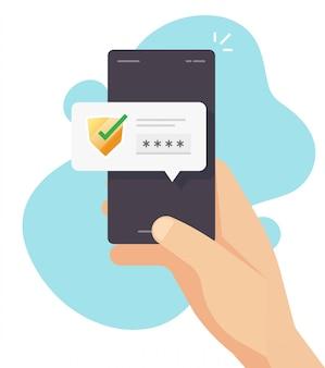 Wachtwoordcodeverificatie beveiligingsbescherming voor autorisatiemelding op mobiele telefoon of digitale beveiligde toegang pus meldingsbericht op mobiel vector plat