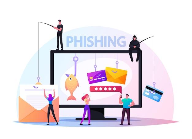 Wachtwoordphishing, hacker attack-concept. hackers stelen persoonlijke gegevens. internetbeveiliging met klein karakter voer wachtwoord in op website op enorme pc, bulgar steal. cartoon mensen vectorillustratie