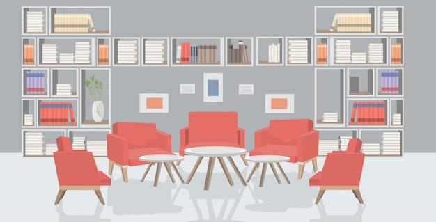 Wachtzaal of vergaderzaal met fauteuils rond tafels modern kantoor interieur schets