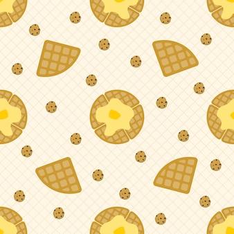 Wafel en koekjes naadloos patroon
