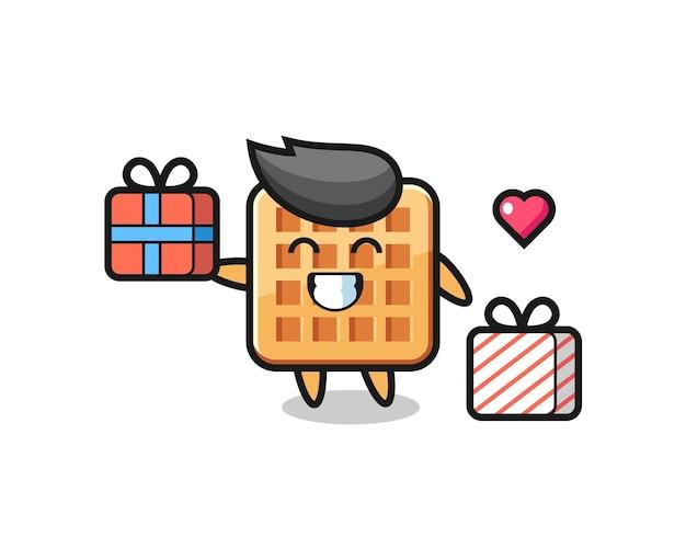 Wafel mascotte cartoon die het geschenk geeft, schattig ontwerp