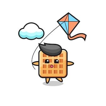Wafel mascotte illustratie speelt vlieger, schattig ontwerp