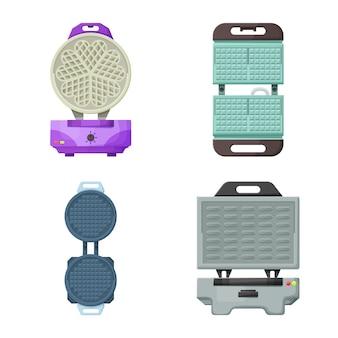 Wafelijzer apparaat voor keuken cartoon icon set.
