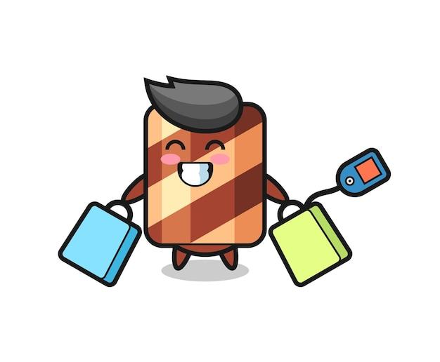 Wafer roll illustratie cartoon met een winkelwagentje, schattig stijlontwerp voor t-shirt, sticker, logo-element