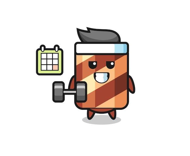 Wafer roll mascotte illustratie speelt vlieger, schattig stijlontwerp voor t-shirt, sticker, logo-element