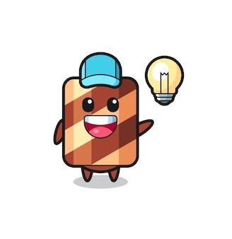 Wafer roll mascotte karakter met bang gebaar, schattig stijlontwerp voor t-shirt, sticker, logo-element