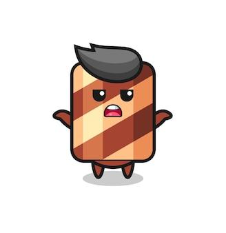Wafer roll mascotte karakter zegt ik weet het niet, schattig stijlontwerp voor t-shirt, sticker, logo-element