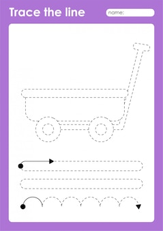 Wagon - tracing lijnen voorschoolse werkblad voor kinderen voor het oefenen van fijne motoriek