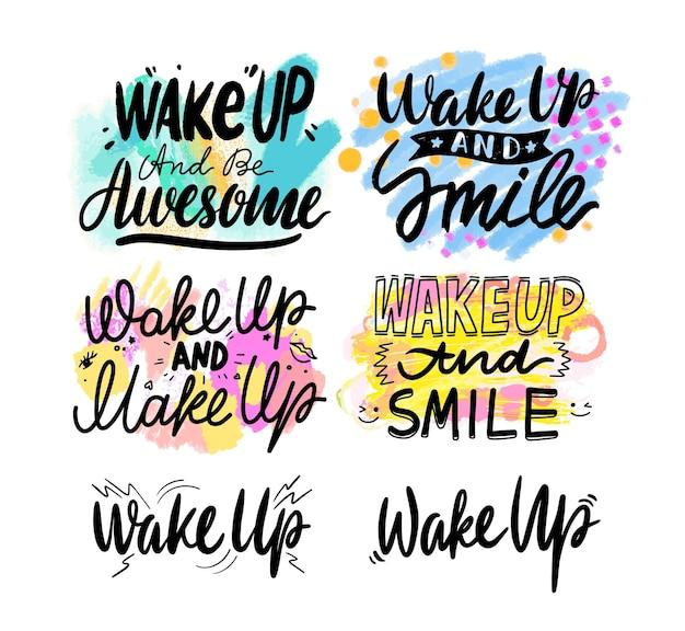 Wakker worden en glimlach banner, creatieve typografie met cartoon elementen geïsoleerd op een witte achtergrond. wenskaart inscriptie, poster of kleding print ontwerp, motivatie zin. vectorillustratie, set