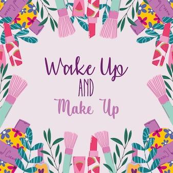 Wakker worden en make-up cosmetica product mode schoonheid vectorillustratie