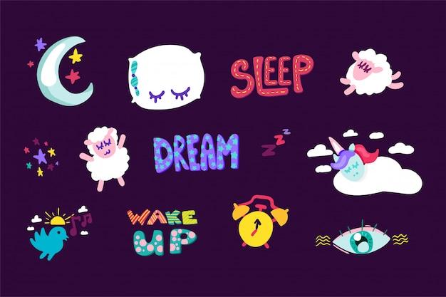 Wakker worden, slaap gestikte frame stickers set