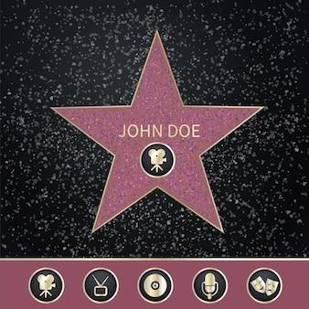 Walk of fame realistische set met cirkelpictogrammen en ster met bewerkbare naam van beroemd persoon