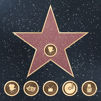 Walk of fame star graniet bord op trottoir met hollywood film academy categorieën vector