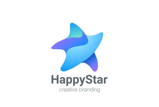Walking star logo succes geometrisch vriendelijk ontwerp. favoriete winner award-logo