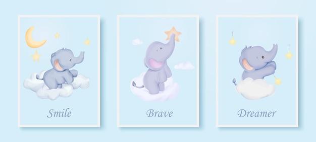 Wall art print schattige dieren poster olifant aquarel illustratie