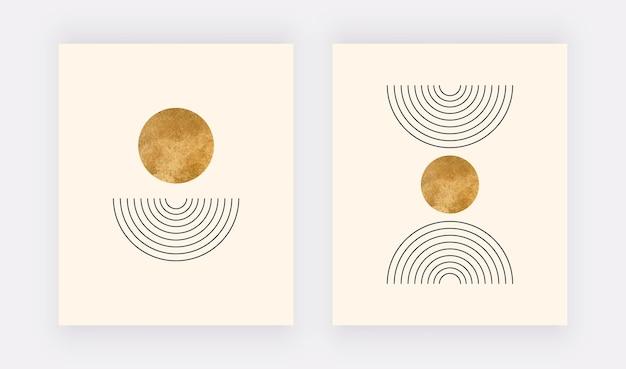 Wall art prints met maan- en regenbooglijnen boho mid-century design