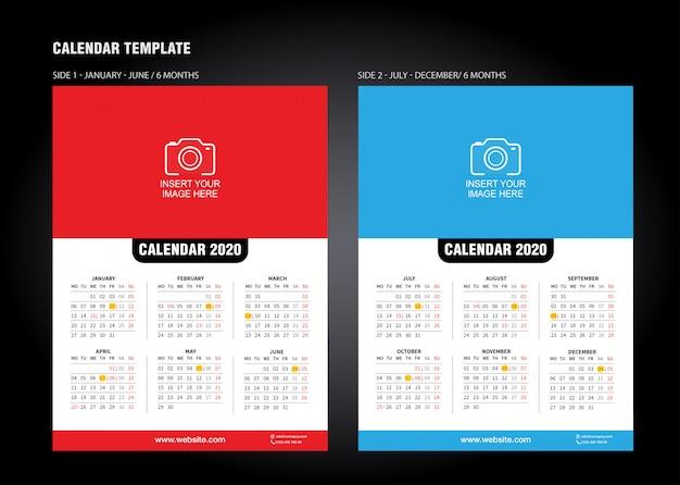 Wall desk kalendersjabloon voor 2020 jaar. vector ontwerpsjabloon afdrukken
