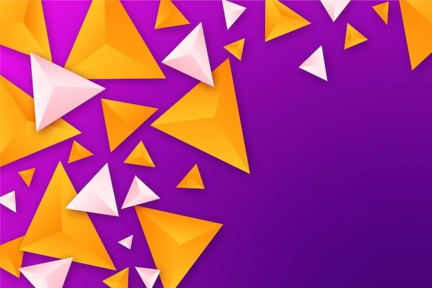 Wallpaer met 3d driehoeken in levendige kleuren