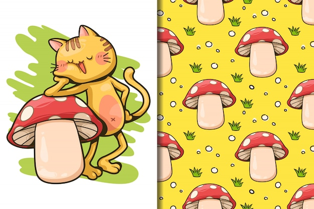 Wallpaper and seamless een gele kat en paddestoel cartoon