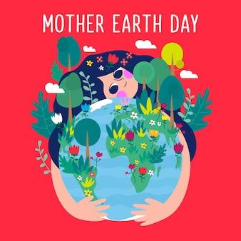 Wallpaper van moeder aarde dag in plat ontwerp