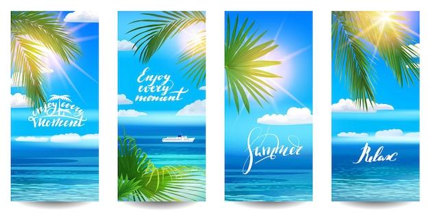 Wallpapers voor smartphone met tropische bladeren op zee achtergrond