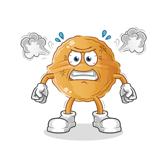 Walnoot erg boos mascotte. tekenfilm