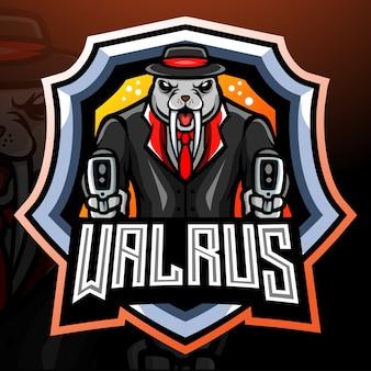 Walrus maffia mascotte esport logo ontwerp