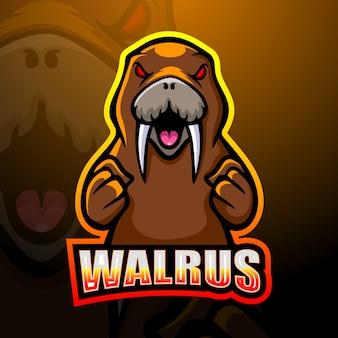 Walrus mascotte esport logo ontwerp