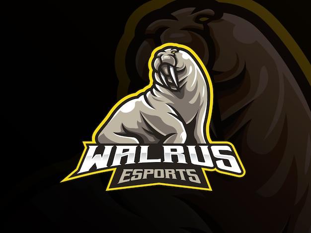 Walrus mascotte sport logo ontwerp
