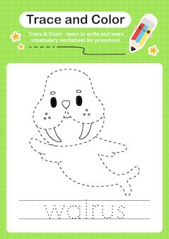 Walrus-trace en kleuterschool-werkbladtracering