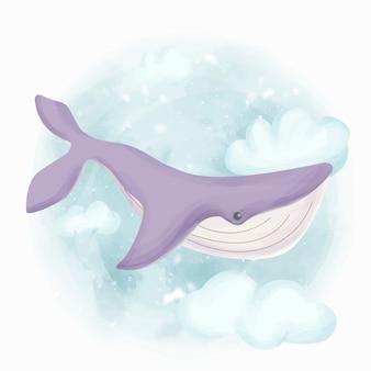 Walvis die in de lucht zwemt