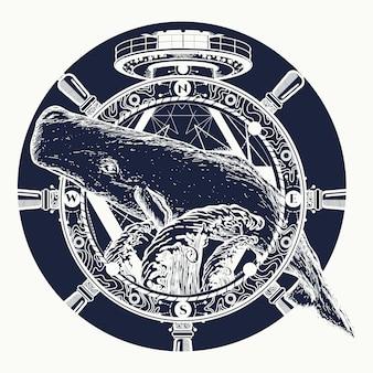 Walvis en stuurwiel, tattoo