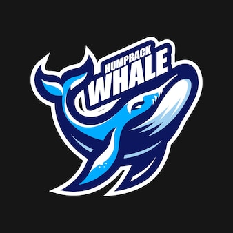 Walvis esport mascotte cartoon logo vector sjabloon