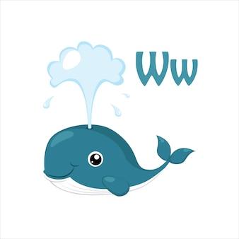 Walvis. grappig alfabet, dierlijke vectorillustratie