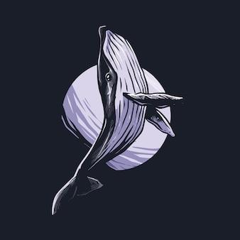 Walvis hand getekende illustratie