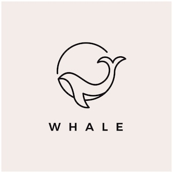 Walvis monoline logo ontwerp pictogram illustratie