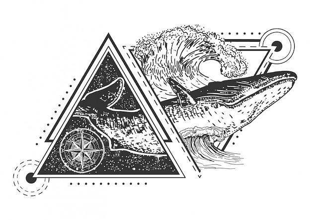 Walvis tattoo art-stijl