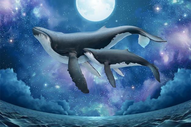 Walvisfamilie vliegt boven het glinsterende zeeoppervlak in surrealistische sterrennacht in fisheye-weergave