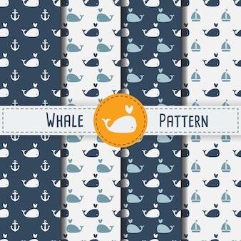 Walvissen naadloos patroon op blauwe achtergrond