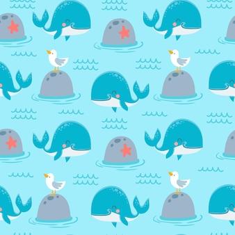 Walvissen naadloze patroon