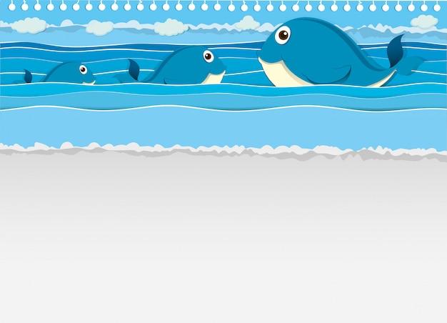 Walvissen zwemmen in de oceaan