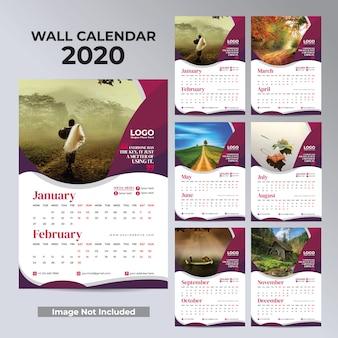 Wand maandelijkse kalender voor 2020 jaarontwerp klaar om af te drukken