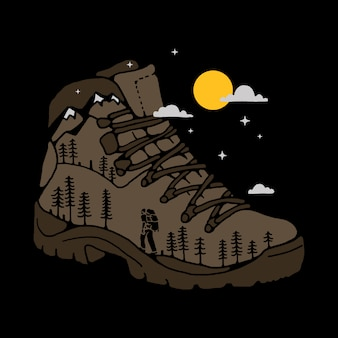 Wandelaar boot illustratie