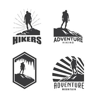 Wandelaar expeditie avontuur logo ontwerpsjabloon set