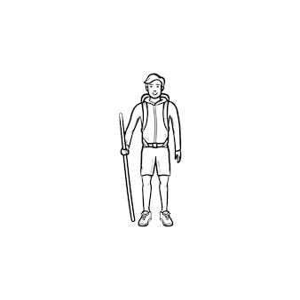 Wandelaar met rugzak en wandelstok hand getrokken schets doodle pictogram. reizen, ontdekken, backpacker-wandeling concept