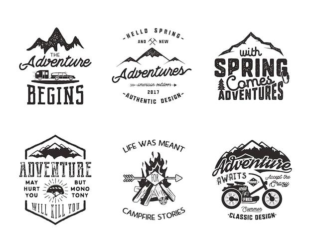 Wandelavontuur en outdoor explorer typografie labels set. inspirerende citaten voor buitenactiviteiten. silhouet hipster logo's. beste voor t-shirts, mokken. vector patches geïsoleerd op een witte achtergrond.