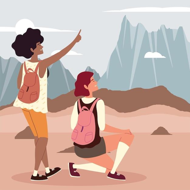 Wandelavontuur voor vrouwen met rugzakken