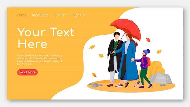 Wandelen bestemmingspagina egale kleur vector familiesjabloon. ouders met een startpagina voor kinderen. website ontwerp