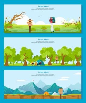 Wandelen camping avontuur vectorillustraties. cartoon platte banner collectie met wandelaar toeristische karakter backpacken, camper mensen zitten bij kampvuur en tent in natuur bos, outdoor toerisme set