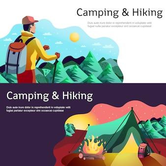 Wandelen camping horizontale banners